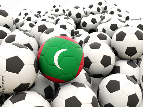 Football with flag of maldives