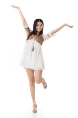 Asian woman with white short dress