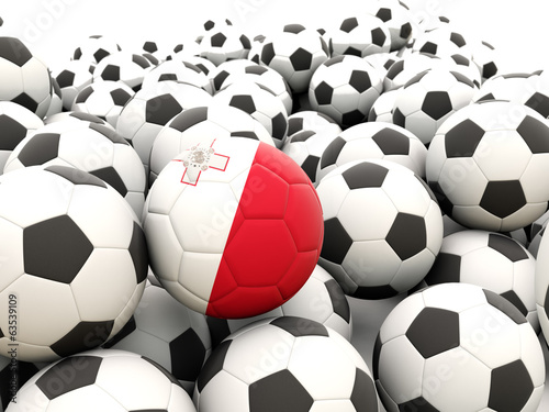 Football with flag of malta