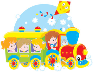 Children travel by train