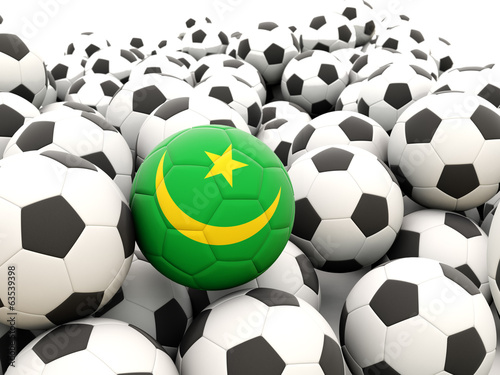 Football with flag of mauritania