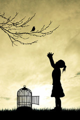 little girl with birdcage