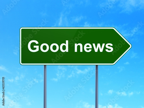 canvas print picture News concept: Good News on road sign background