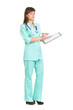 female medical doctor with stethoscope isolated