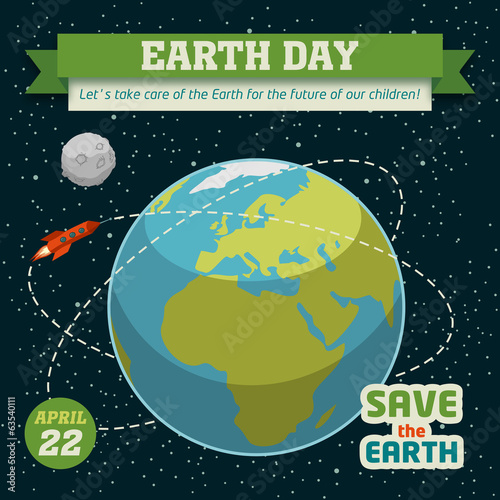 Earth day holiday poster with space background