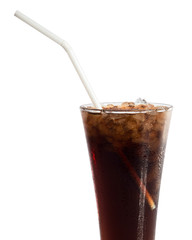 Cola with ice in glass isolated on white background.