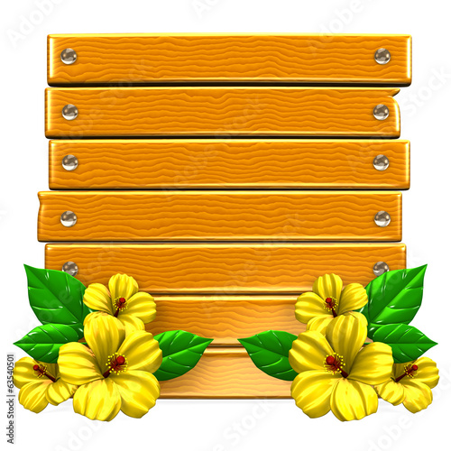 Wooden Board With Yellow Hibiscuses