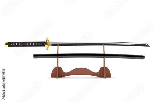 Japanese sword with wooden base