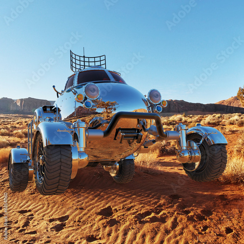 desert car flying on the sand