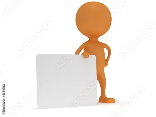 3d man stand with blank white board.