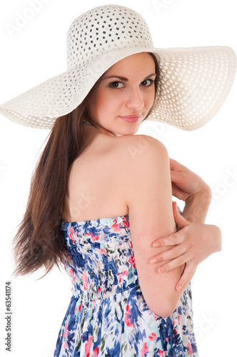 woman in summer dress with hat