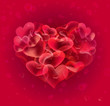 Red hearts bubbles abstract background
