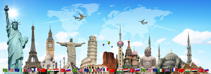 Travel the world monuments concept © sdecoret