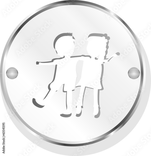 icon button with baby boy and girl inside, isolated on white