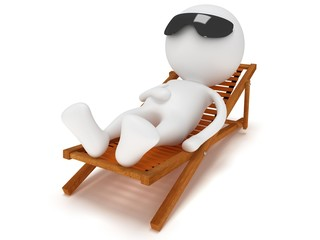 3d man having a rest on chaise lounge.