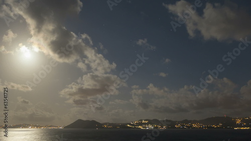 Time lapse Moonlight coast St Lucia