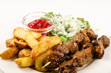 kebab with fries