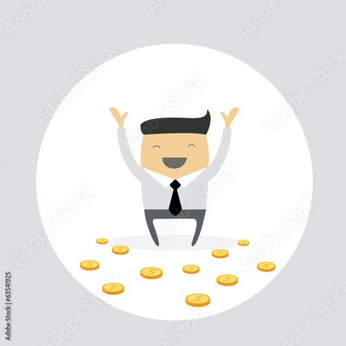 Happy businessman with gold coins. Cute cartoon character.