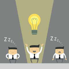 Businessman make successful idea. Vector illustration