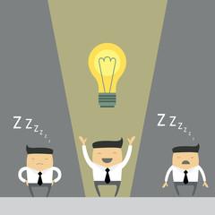 Businessman make successful idea. Vector illustration