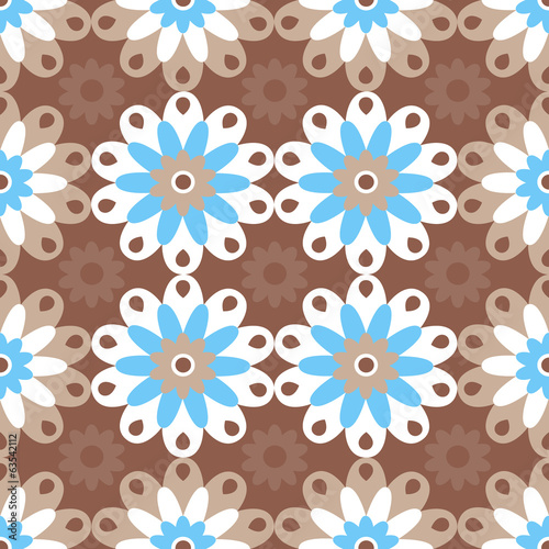 Gentle floral seamless pattern on brown background.