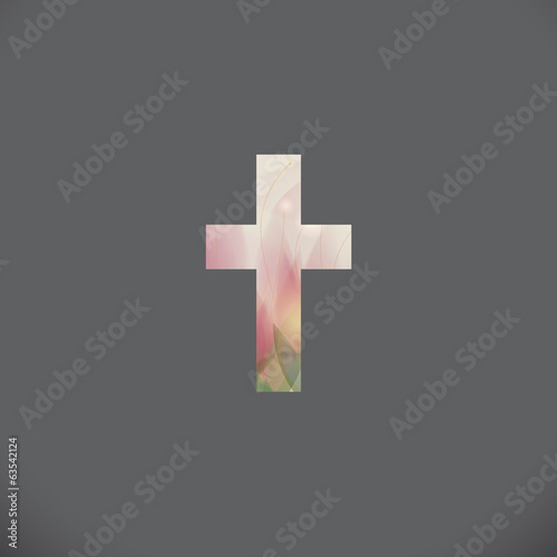Condolence / Elegant card with floral Cross