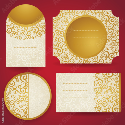 Labels with golden curls. Vintage set of east style background.