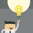 Businessman with ideas. Vector illustration