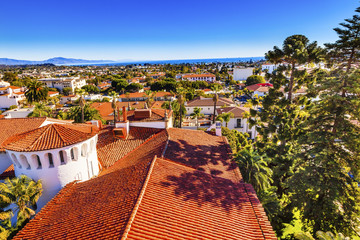 Court House Orange Roofs Buildings Santa Barbara California