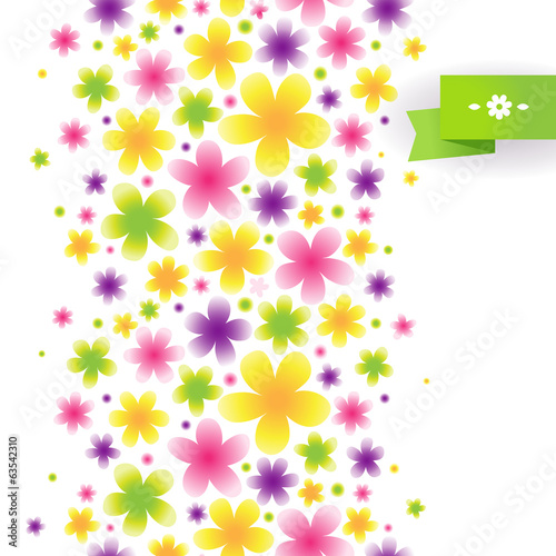 Bright floral seamless pattern. Vector background.
