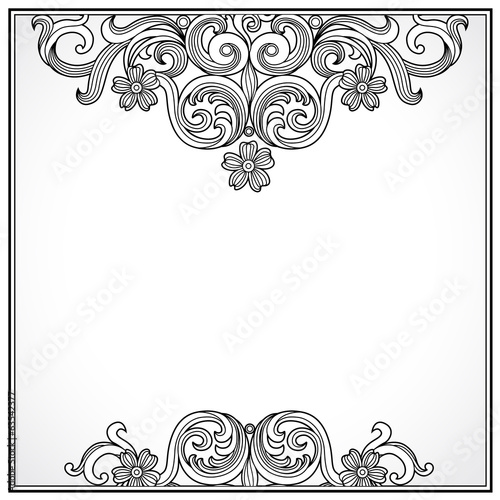 Vintage ornate border with place for text. Ornamental pattern.
