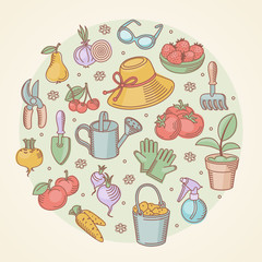 Vector set icons of garden tools, vegetables and fruits.