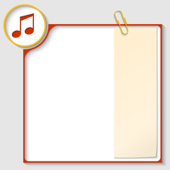 red frame for text with a music icon and notepaper
