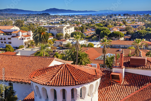 Court House Orange Roofs Pacific Ocean Santa Barbara California