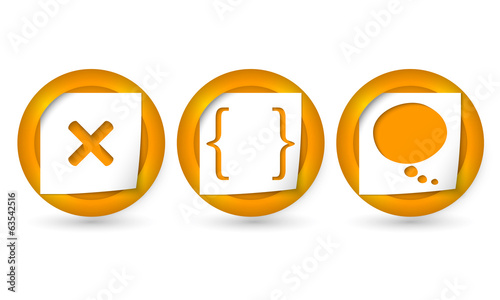 set of three vector icons with marks