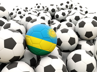 Football with flag of rwanda