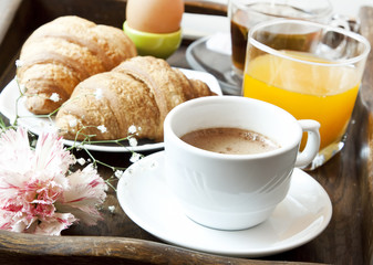 French Breakfast with Coffee, Flower and Croissants