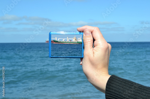 Taking a picture with photo camera