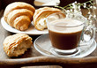 Cappuccino Coffee in Transparent Cup and Croissants