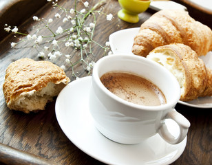 Cappuccino Coffee and Croissants,French Breakfast