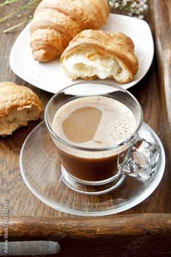 Cappuccino in Transparent Cup and Croissants