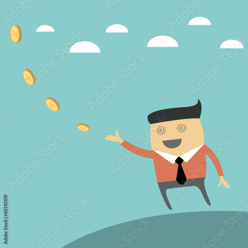 Successful happy businessman with money. Vector illustration