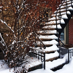 Staircase covered by snow