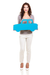 girl holding paper car symbol