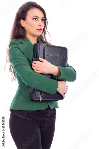 Portrait of a young businesswoman holding a briefcase