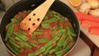 Cooking Green beans in pan