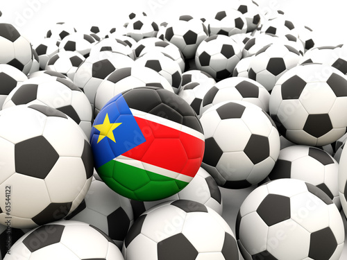 Football with flag of south sudan