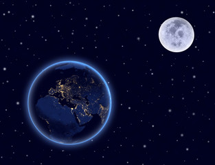 Planet earth and moon on night sky. Europe, Africa and Asia.