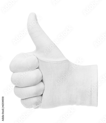 white glove showing thumbs up on white background