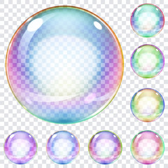 Set of multicolored soap bubbles